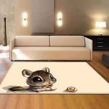 Nordic Living Room Carpets 3D Animal Printed Area Rug Soft Flannel Anti-slip Tea Table Mats Bedroom Bedside Kids