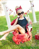2015 Brand Dot Retro Child One Piece Swimsuit Swimwear Bathing Suit Halter Style For Girls Kids