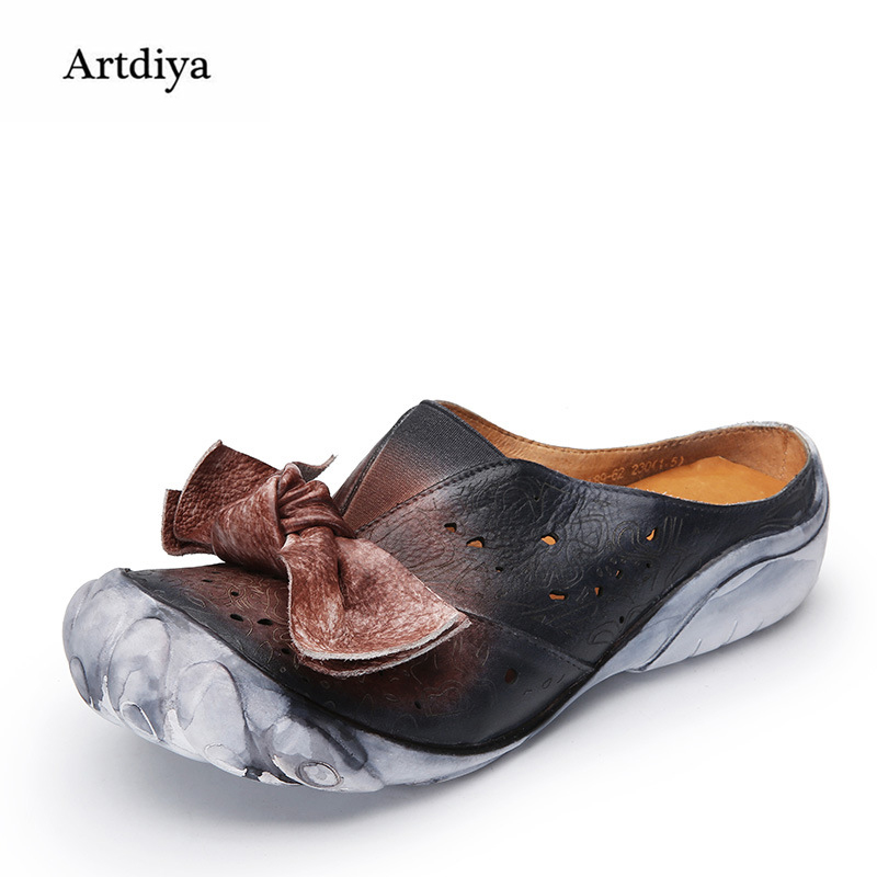 Artdiya 2018 New Butterfly-knot Flat Women Shoes Female Handmade Hollow Genuine Leather Five Fingers Retro Slippers F89-62 artdiya 2018 spring new women s shoes genuine leather handmade retro elastic band rubber flat shoes b292 2