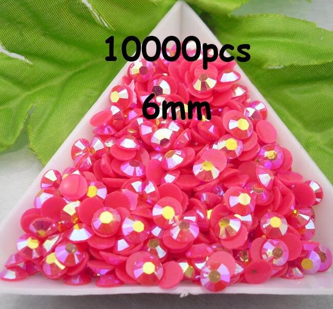 En gros grande quantité 10000 pièces rose foncé couleur magique AB gelée 6mm résine strass téléphone portable bâton perceuse SS30