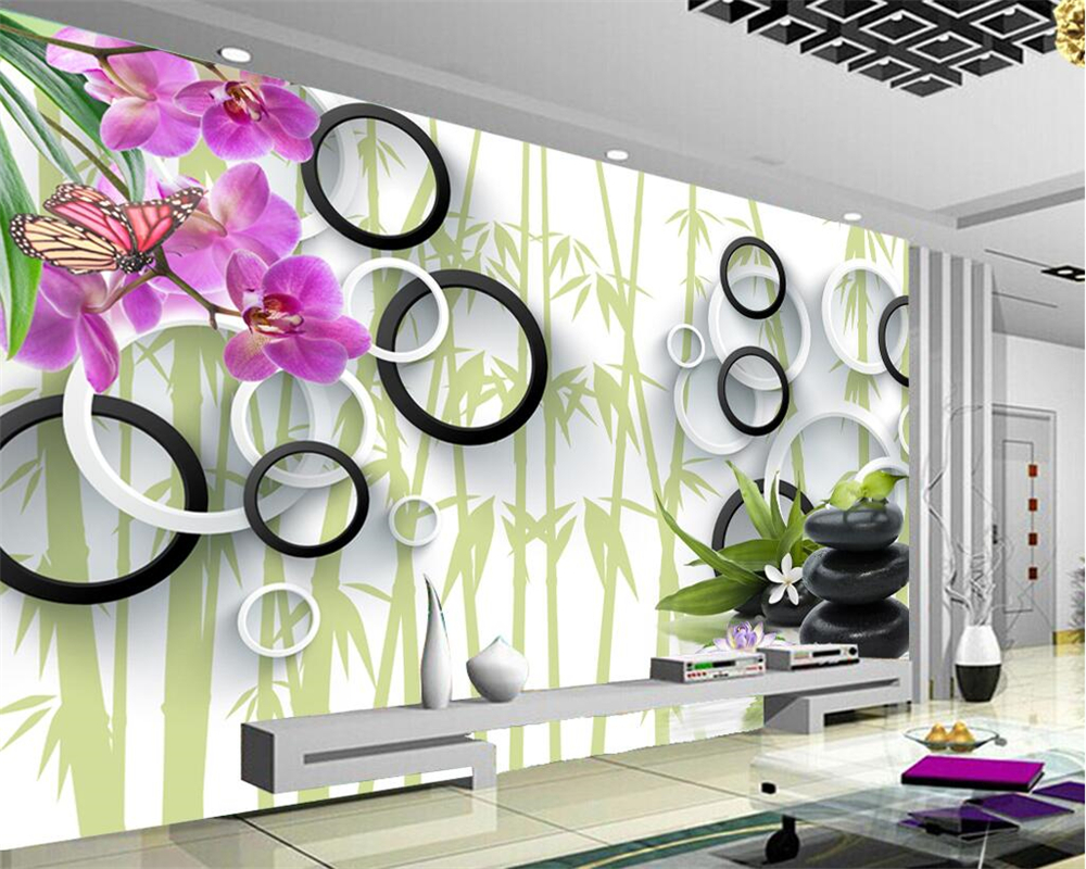 Beibehang Home decoration wallpaper mural 3D butterfly blue bamboo lotus reflection interior decoration background 3d wallpaper