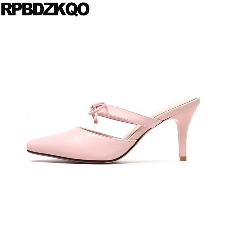Thin Plus Size Women Ladies High Heels Shoes Golden 2017 Bow Rhinestone Chic Pink 3 Inch 33 Pointed Toe Sweet Sandals Pumps 10 new 2017 spring summer women shoes pointed toe high quality brand fashion womens flats ladies plus size 41 sweet flock t179