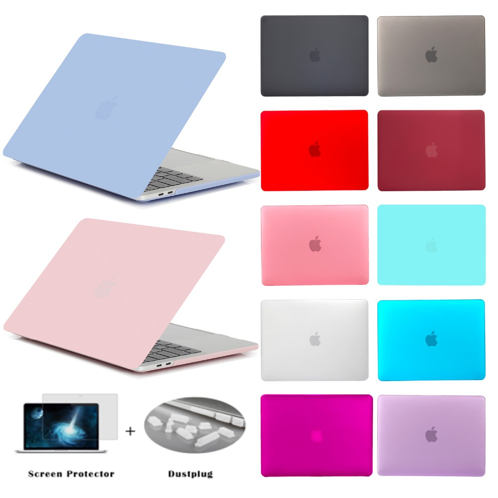 GOOYIYO - Laptop Matt Case Hard PC Shell Protective Cover For Macbook Air Pro Retina Touch Bar 13 &Screen Protector&Dust Plugs