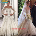 2017 Luxury Saudi Arabia Beaded Wedding Dresses Boat Neck Sheer Long Sleeves Bridal Gowns Plus Size Handwork Vestido De Novia