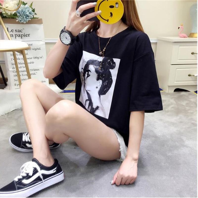 Nouvelles femmes d'été de t-shirt version Coréenne de la lâche grande taille dames basant la chemise Harajuku style avatar de femmes chemise