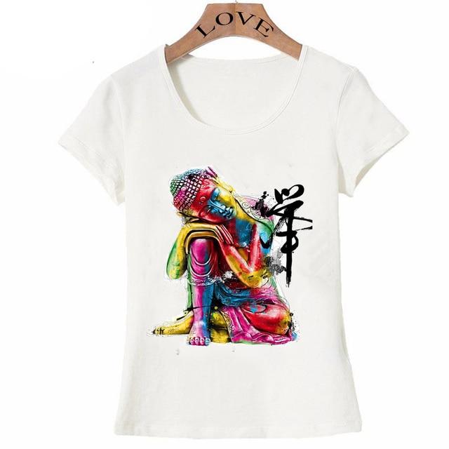 f9229f3f 2018 new Summer fashion women's Tops fine Buddha printed T-Shirt Colorful  zen design casual