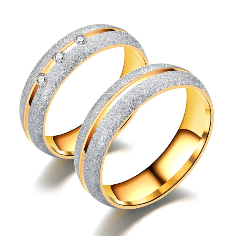 Frosted Couple Rings Unique Design Stainless Gold Ring Luxury Inlaid Wedding Jewelry Accessories