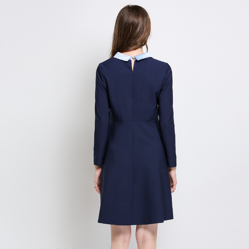 Autumn Casual Preppy Style Blue Sexy Dress Plus Size Women 2018 Dresses  Vestidos Winter Party Long Sleeve Button Large Dress 5XL-in Dresses from  Women s ... 6584ac986121
