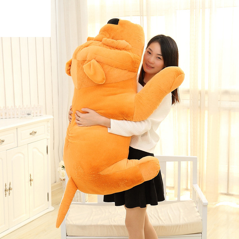 Big Plush Dog Lying Toy Large Size Stuffed Animal Pillow Doll 60cm Best Gift and Decoration fancytrader 120cm super lovely jumbo plush shar pei dog toy large dog doll sleeping pillow gift for child free shipping ft50048
