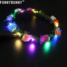 FUNNYBUNNY LED Flower Wreath Headband Light Up, Floral hairband with simply Glowing Girls Headdress Party decoration