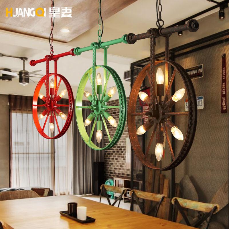 Loft retro industrial wind personality Restaurant Bar American country iron bar Art Chandelier wheelLoft retro industrial wind personality Restaurant Bar American country iron bar Art Chandelier wheel