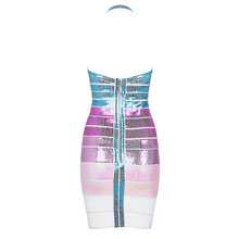 INDRESSME 2017 New Arrival Sequins Halter Deep V Sexy Bandage Dress Summer Hot clearance Clearance