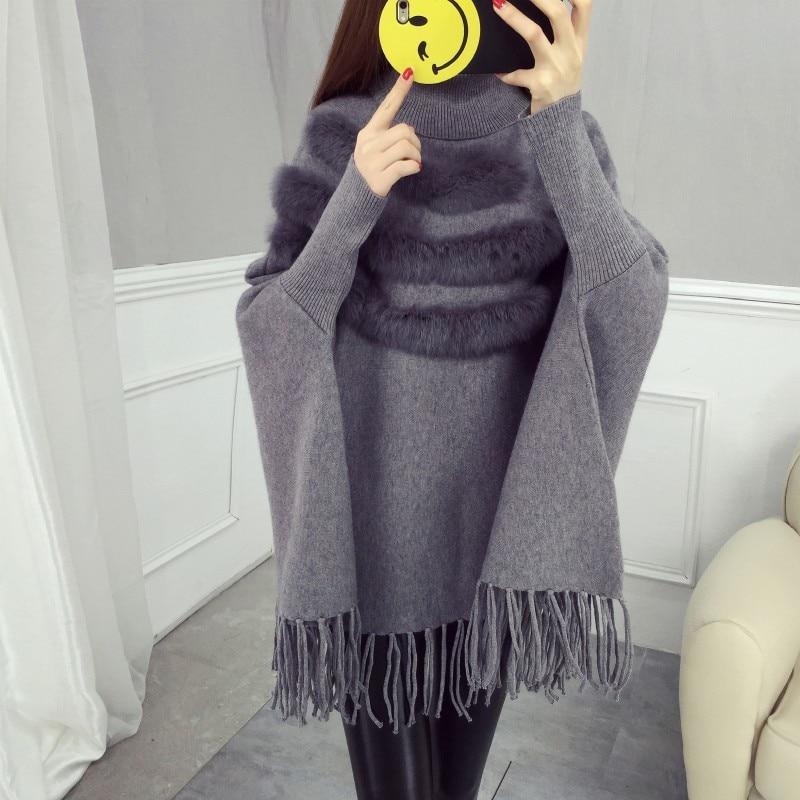 Женская накидка из натурального кроличьего меха, пуловер, пальто, Новое поступление, модная Осенняя женская накидка с высоким воротником, рукав «летучая мышь», пончо с кисточками, свитер, пальто - Цвет: Серый