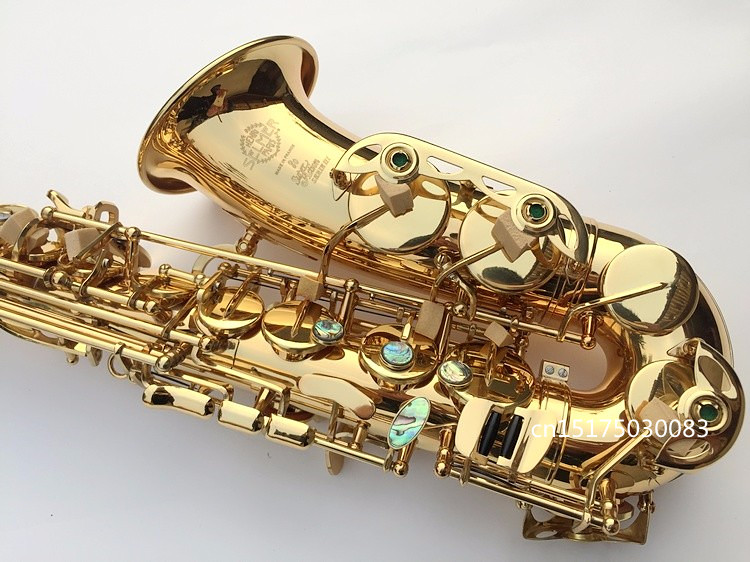 High-quality Saxophone Alto 802 Eb Alto Sax Lacquered Gold E Flat Sax with Cleaning Brush Cloth Gloves Cork Grease Strap Case alto saxophone 54 eb flat alto sax top musical instrument sax wear resistant black nickel plated gold process sax page 1