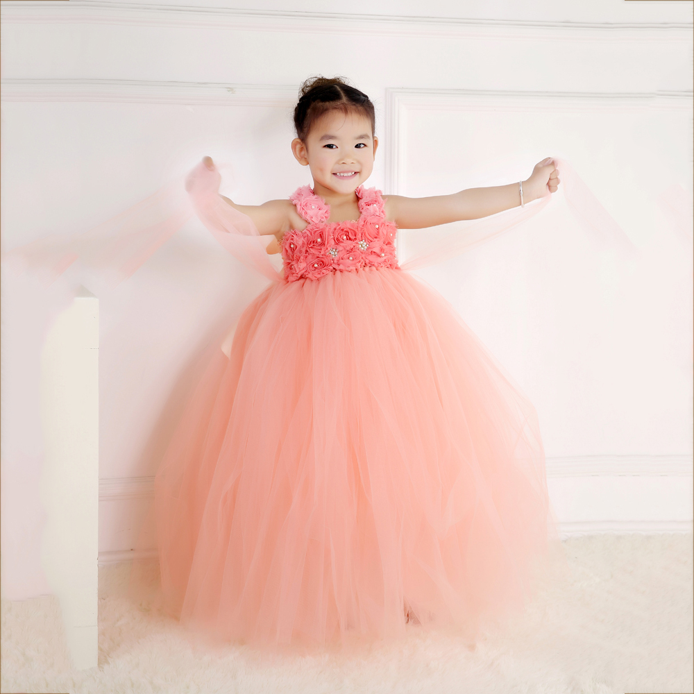 Peach Flower Girls Dress for Christmas Birthday Party Princess Kid Flower Straps Girls Ball Gown Tutu Dress Christening Clothing chinese flower tea mountain peach peach flower mountain peach tea f238
