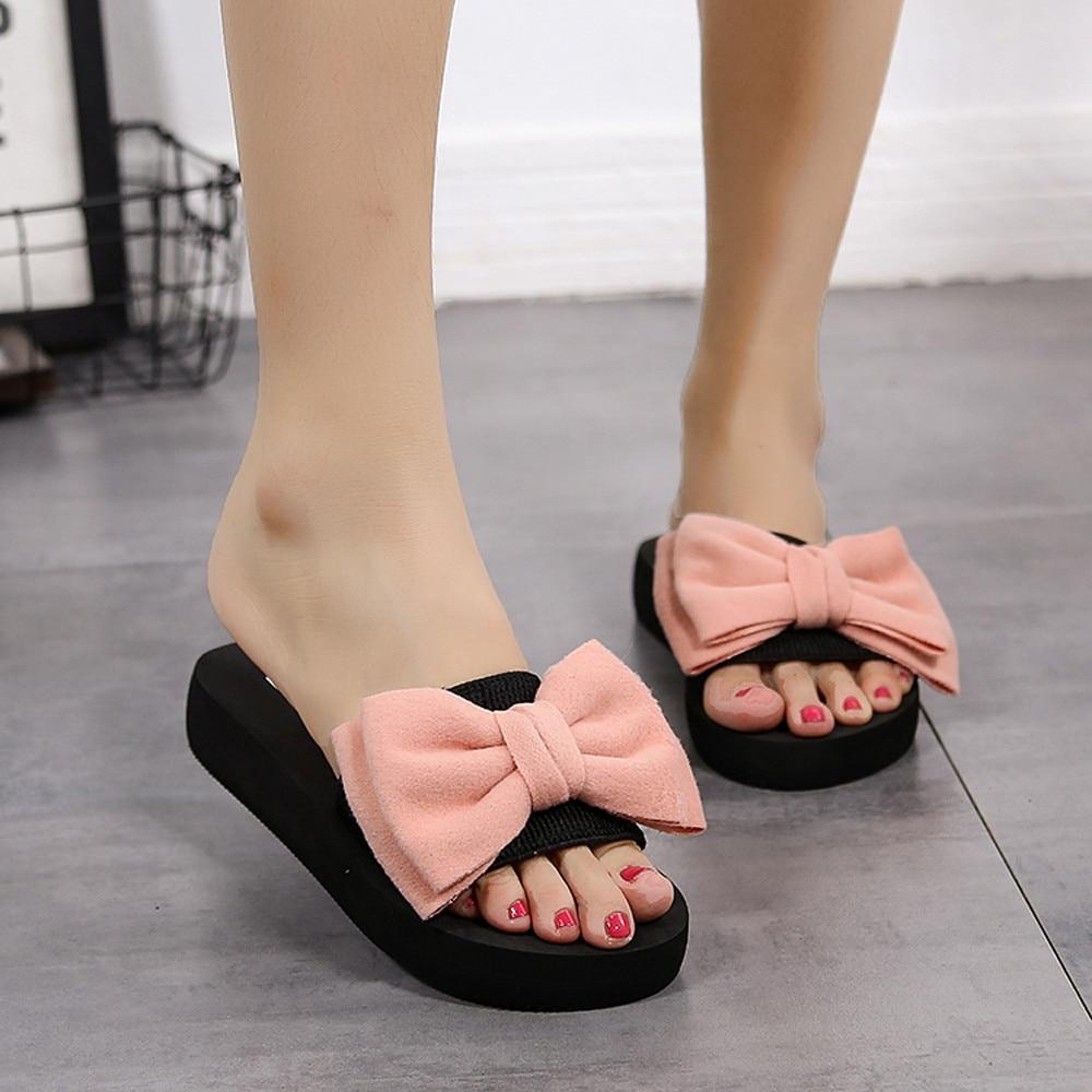 Women Bow Summer Sandals Slipper Indoor Outdoor Flip-flops Beach Shoes New Fashion Female Casual Flower Slipper Chanclas 3.747