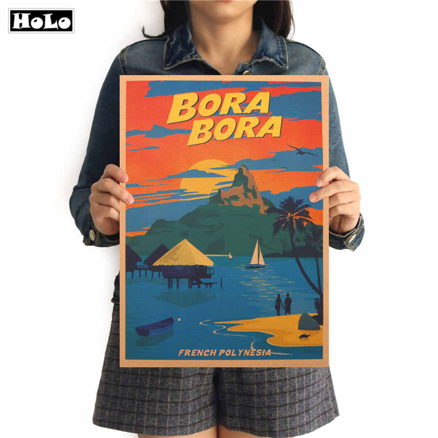 BORA Travel City vintage poster retro poster paper wall sticker Bar Cafe living room home decoration wallpaper 42x30cm
