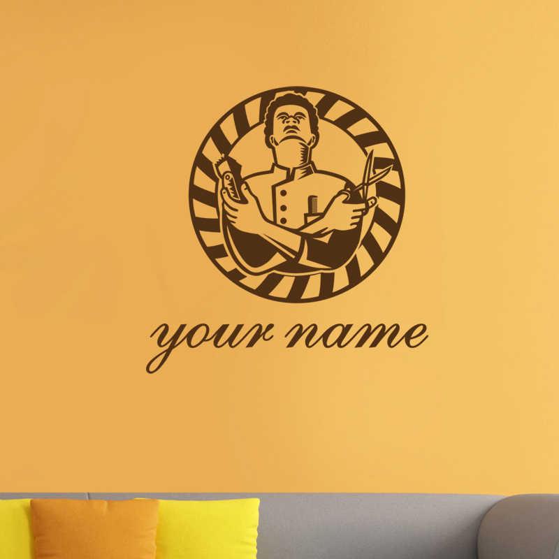 Etiqueta engomada etiqueta personalizada de la barbería del pan de la Chop Posters vinilo Arte de la pared Decoración decoración de las ventanas calcomanías de la afeitadora del corte de pelo