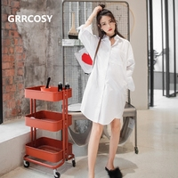 GRRCOSY White Maternity Shirt Casual Cotton Autumn Korean Shirts Clothes for Pregnant Women Pregnancy