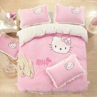 2015 зимний стиль фланелевый утешитель постельных принадлежностей красивый милый кот 4 шт. Постельные комплекты простыня Пододеяльник Прост