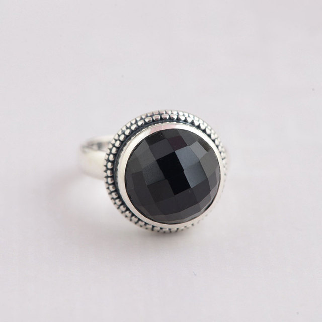 FNJ 925 Silver Round Ring Natural Black Stone New Fashion Real S925 Sterling Thai Rings For Women Jewelry USA Size 55 8