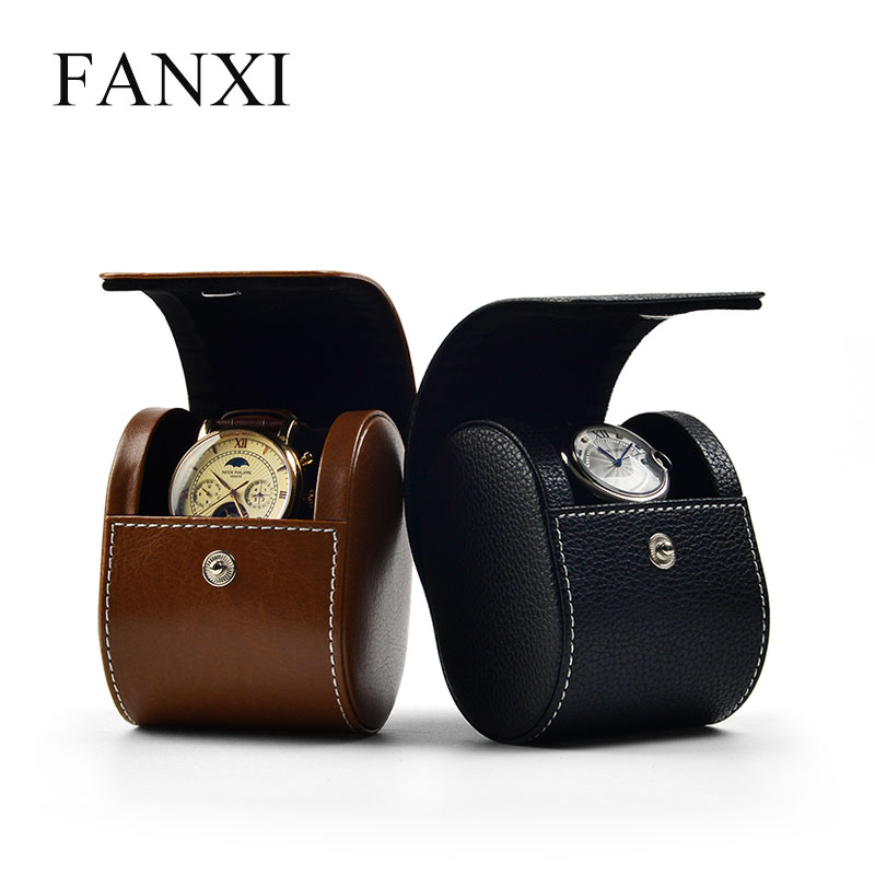 FANXI  New PU Leather Watch Storage Box With Velvet Insert Red /Black Portable Watch Bag Travel Watch Organizer With Button