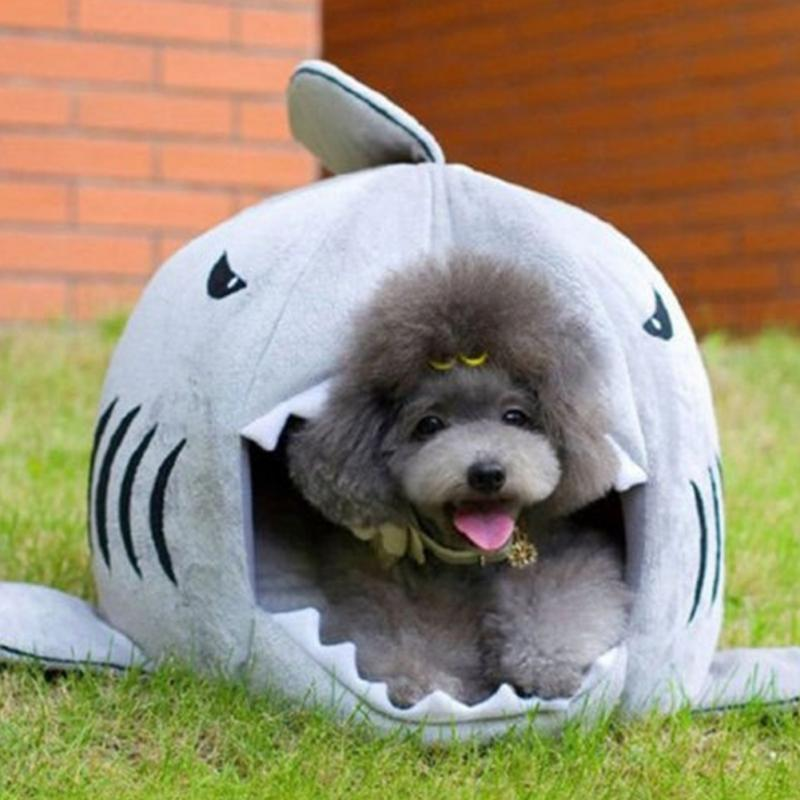 Creative Shark Mouth Modeling Kennel Cat Nest Warm Pet Sleeping Bag Four Seasons Nest Small Dog Teddy Bear Bear Removable Pad