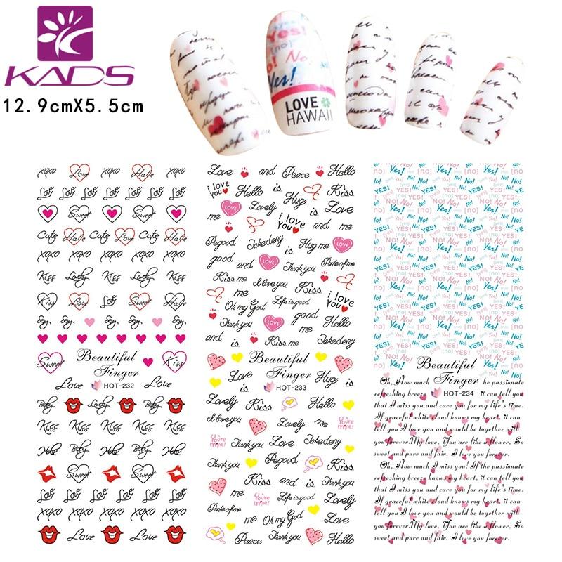 HOTSALE 3Sheet/SET HOT232-234 Fashion Valentine's design Letter&sexy lips nail sticker Nail tips nail sticker for nail art decal