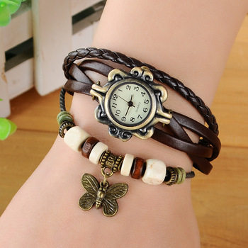 2019 Fashion Women Watches Korean Style Vintage Wooden Beads Butterfly Watch Leather Ropes relogio feminino Ladies Watch Women