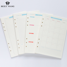6 Holes Loose Leaf Notebook Paper Spiral Planner Refill Inner Page A5 A6 Diary Weekly Monthly Plan To Do List For Filofax