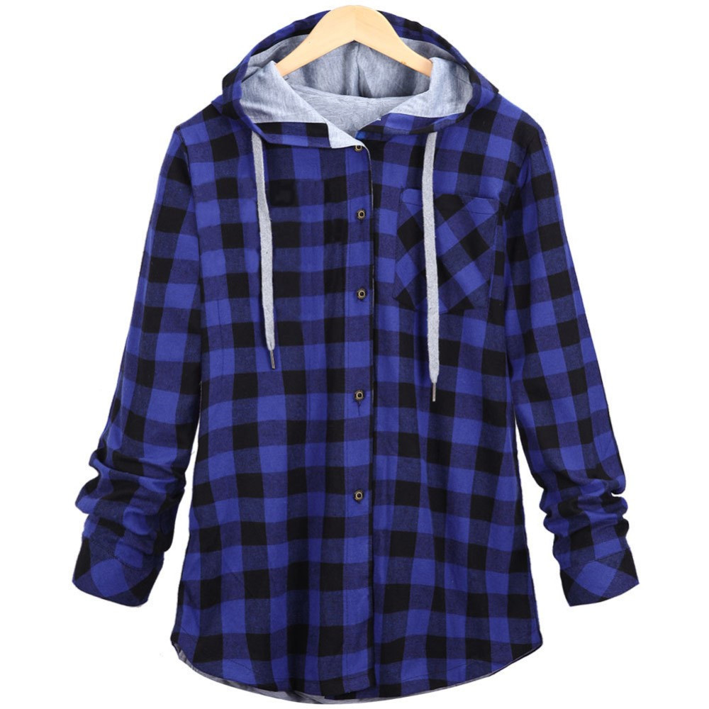 Women Casual Red Plaid Shirt Hooded Coat Long Sleeve