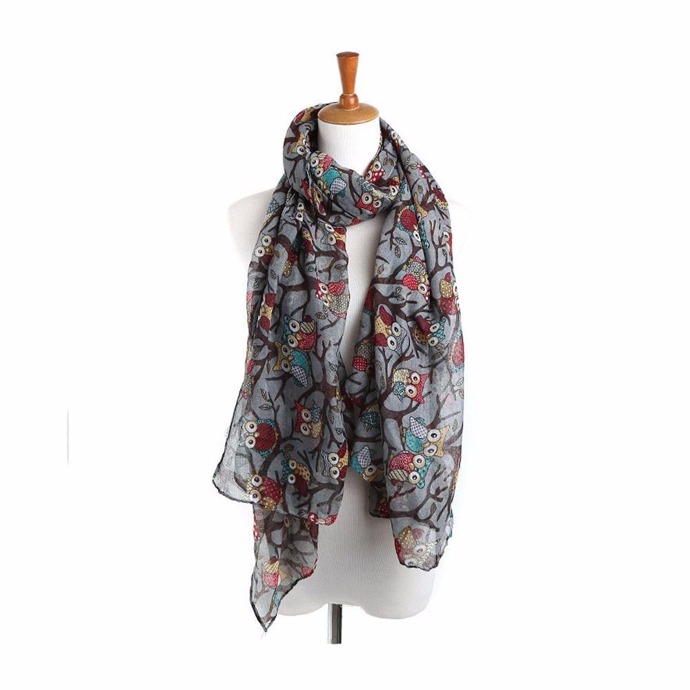 Cotton Line   scarf   women hijab   scarf   Ladies Owl Print Long Soft   Scarf     Wrap   Shawl 2019 Fashion Female poncho bufanda mujer#H20