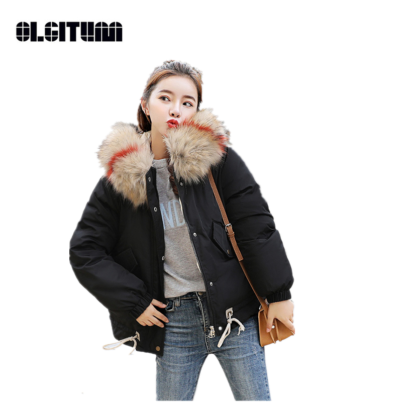 New 2018 Thick Warm Fur Hooded Short Loose   Parka   Winter Jacket Women Winter Coat Down Cotton Padded Jacket Female M-2XL