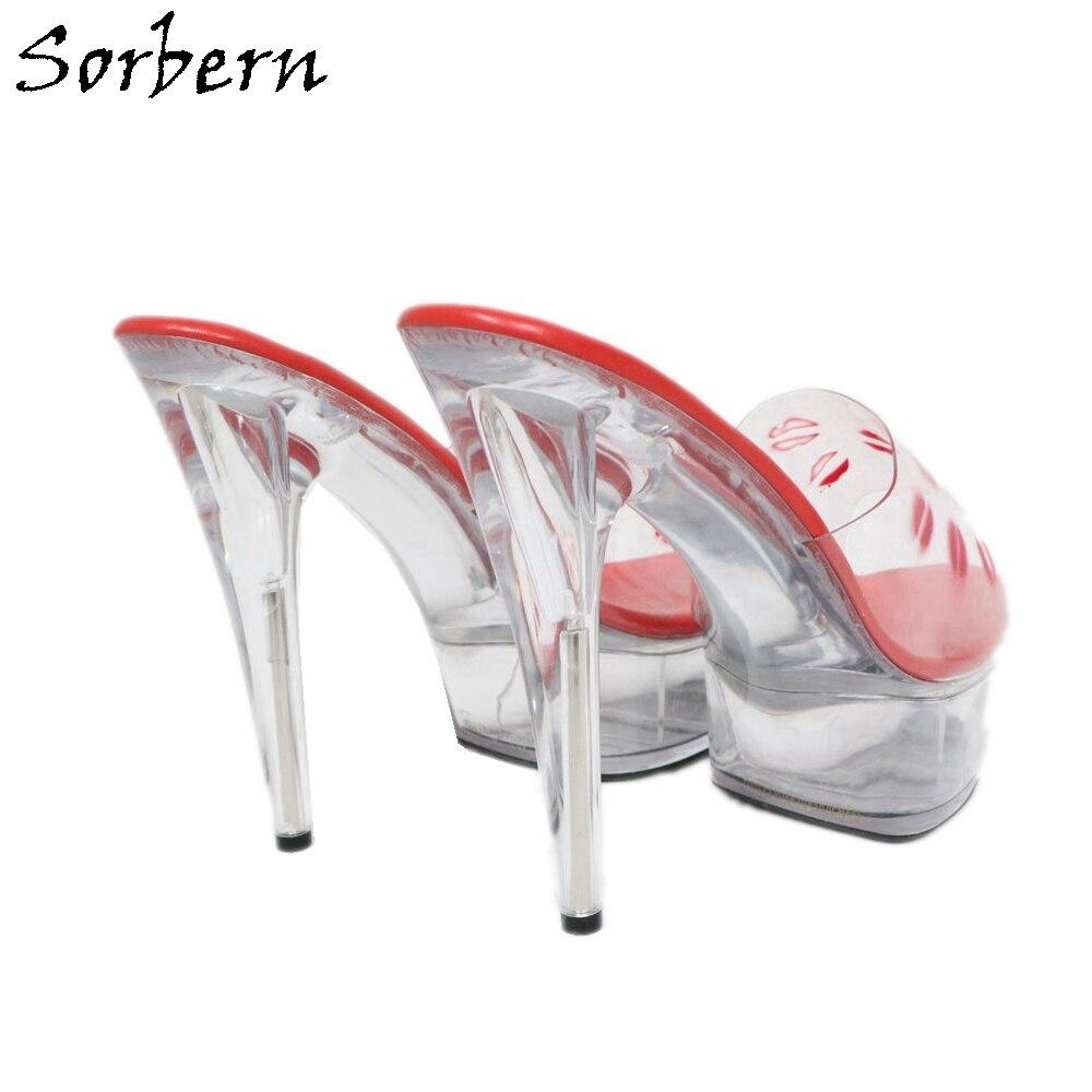 13f38de3 De Estilo Más Cm Zapatillas Grande Fuera Deslizamiento Rojo Tacón Adultos Mujer  Sorbern 15 Zapatos Talla Para ...