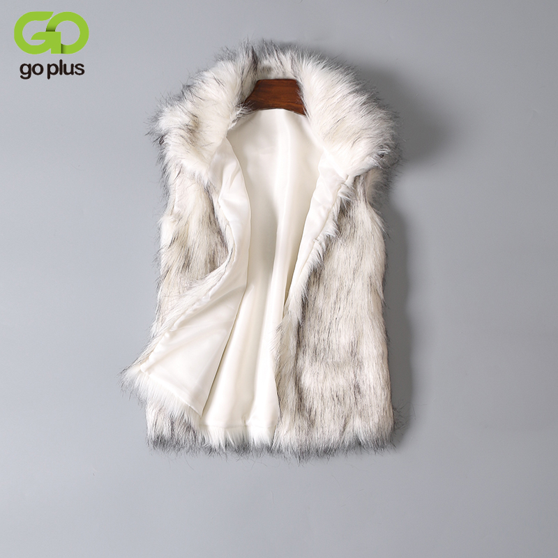 GOPLUS New 2018 Long Fur Vest Winter Women Luxury Faux Fox Fur Vest Furry Slim Women's Fake Fur Vest Plus Size Faux Fur Vest curved faux fur vest