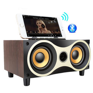 Eagle Eye Design Wireless Mini Bluetooth Speaker Retro Wood Mobile Phone Holder for TF Card Voice Prompts Handsfree Speakers