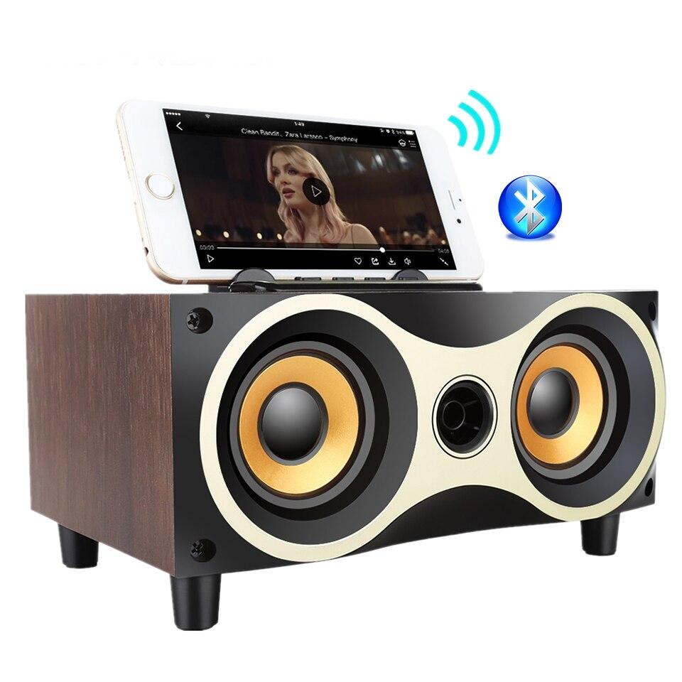 Retro Wood Wireless Mini Bluetooth Speaker Portable Subwoofer Bluetooth Hifi Sound System Music Desktop Home Acoustics Speaker quinn acoustics q62 component system