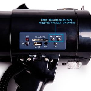 Image 4 - Portable Megaphone 50 Watt Power Megaphone Speaker Bullhorn Voice And Siren/Alarm Modes With Volume Control And Strap