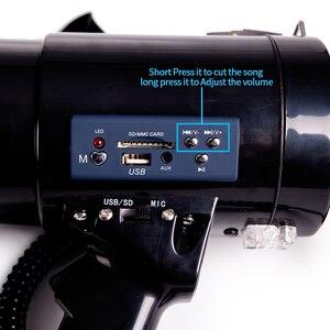 Image 4 - Przenośny megafon 50 Watt Power megafon głośnik Bullhorn głos i syreny/tryby alarmowe z regulacją głośności i paskiem
