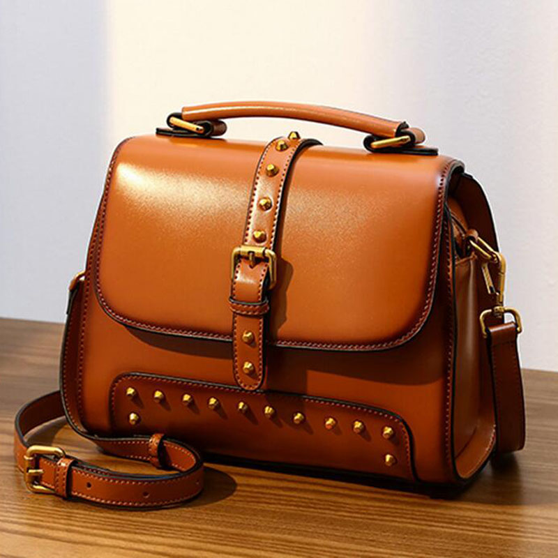 Real Cow Leather Women HandBags Shoulder Messenger Bags Rivet Casual Fashion Totes Top Handle Crossbody Leather Female Bag whosepet eiffel tower fashion ladies totes messenger bag female top handle bags women pu leather vintage bag small crossbody bag