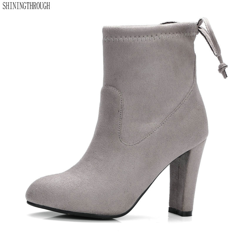 2018 Women Boots Flock Ankle Boots Round Toe Winter Women Boots Ladies Party Western Stretch Fabric Boots Big Size 34-43