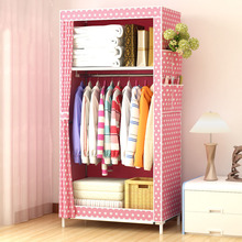Dormitory single wardrobe Non-woven Steel frame reinforcement Standing Storage Organizer Detachable Clothing Closet furniture
