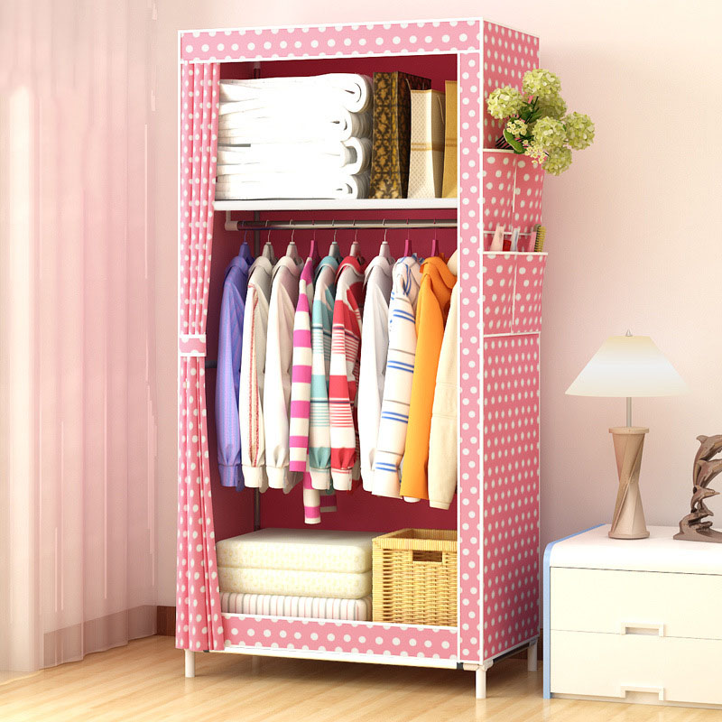 Dormitory single wardrobe Non-woven Steel frame reinforcement Standing Storage Organizer Detachable Clothing Closet furniture simple fashion moistureproof sealing thick oxford fabric cloth wardrobe rustproof steel pipe closet 133d