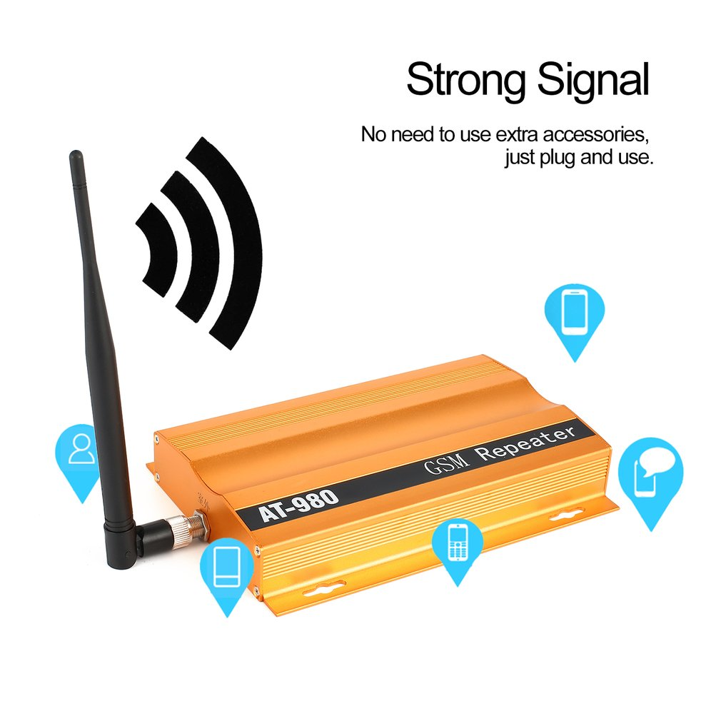 GSM 900mHz Mobile Phone Signal Booster Repeater Amplifier + Yagi Aerial Full-Duplex Single-Port Design AT-980