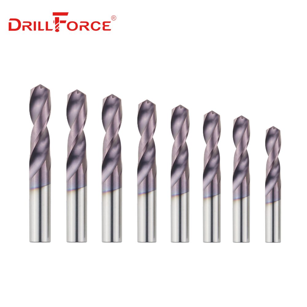 Drillforce 1PC Dia. 1.0-9.0mm HRC65 Solid Carbide Drill Bits Twist Drill Bit For Hardened Alloy Tool Stainless Steel