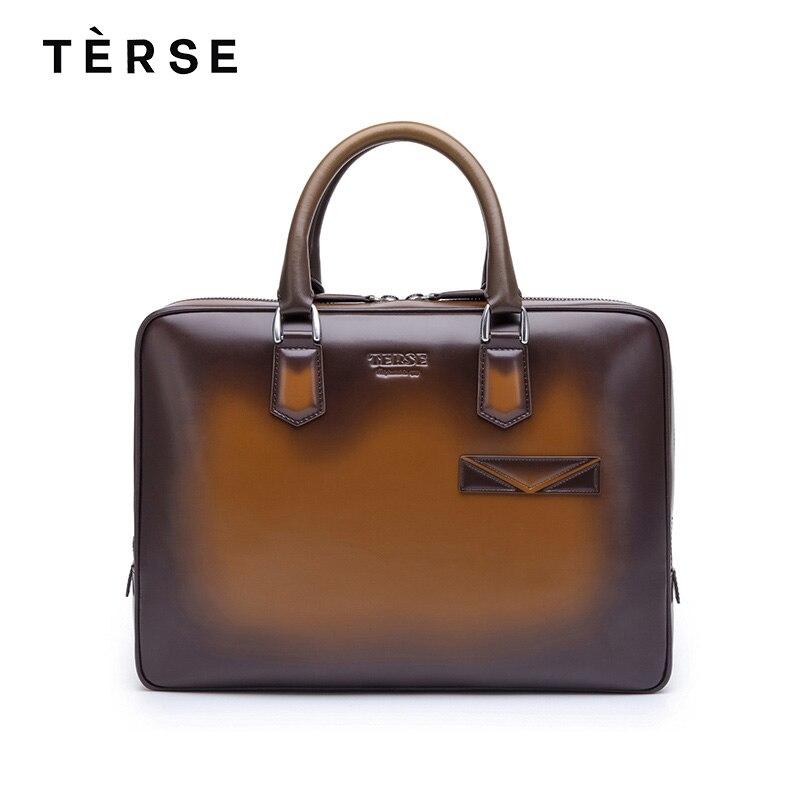 TERSE 2018 New Handbag Genuine Leather Men`s bag 2 Colors Large Capacity Laptop Luxury Business Briefcase Customize Logo 9642