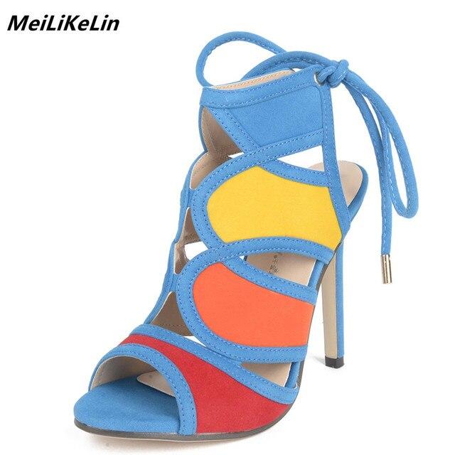 c3639c66b90 MeiLiKeLin 2018 Europe Rainbow color Gladiator sandals high heels summer shoes  women back lace-up sandals sexy sandalia feminina