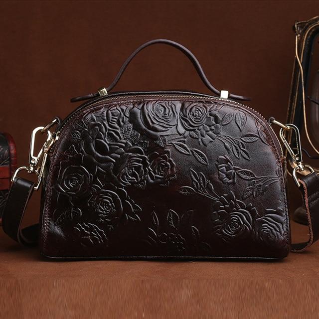 High Quality Genuine Leather Women Shoulder Messenger Tote Handbag Flower Embossed Vintage Cowhide Cross Body Top Handle Bag