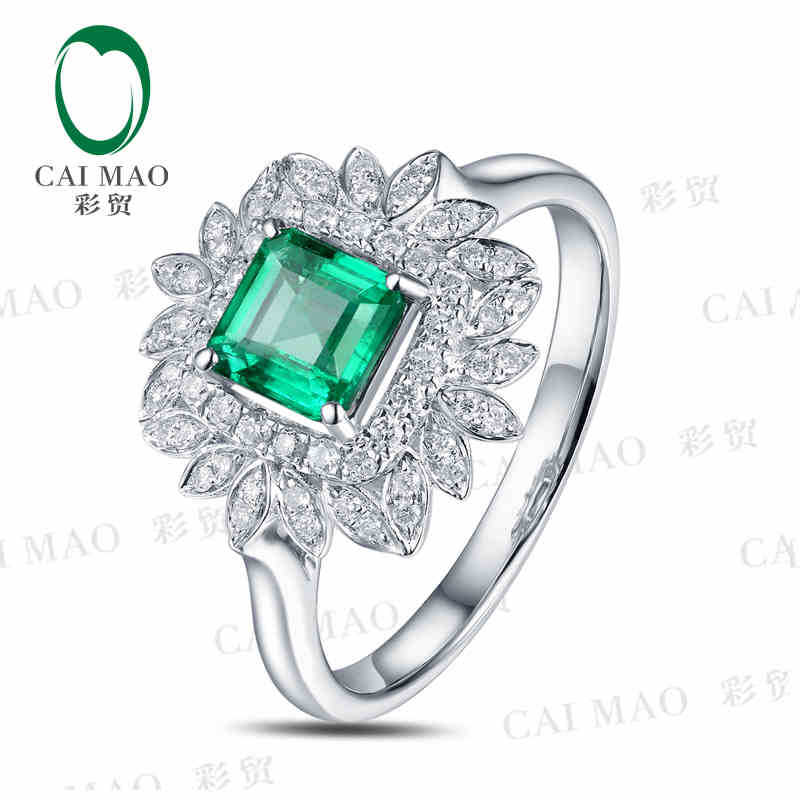 CaiMao 0.75 ct Natural Emerald 18KT/750 White Gold  0.24 ct Round Cut Diamond Engagement Ring Jewelry GemstoneCaiMao 0.75 ct Natural Emerald 18KT/750 White Gold  0.24 ct Round Cut Diamond Engagement Ring Jewelry Gemstone