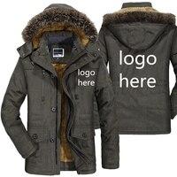 Winter Custom Parka Jacket Men's Casual Zipped Fashion Fur Collar Windbreaker Hoodies Fleece Jackets Outdoor Coat Dropshipping